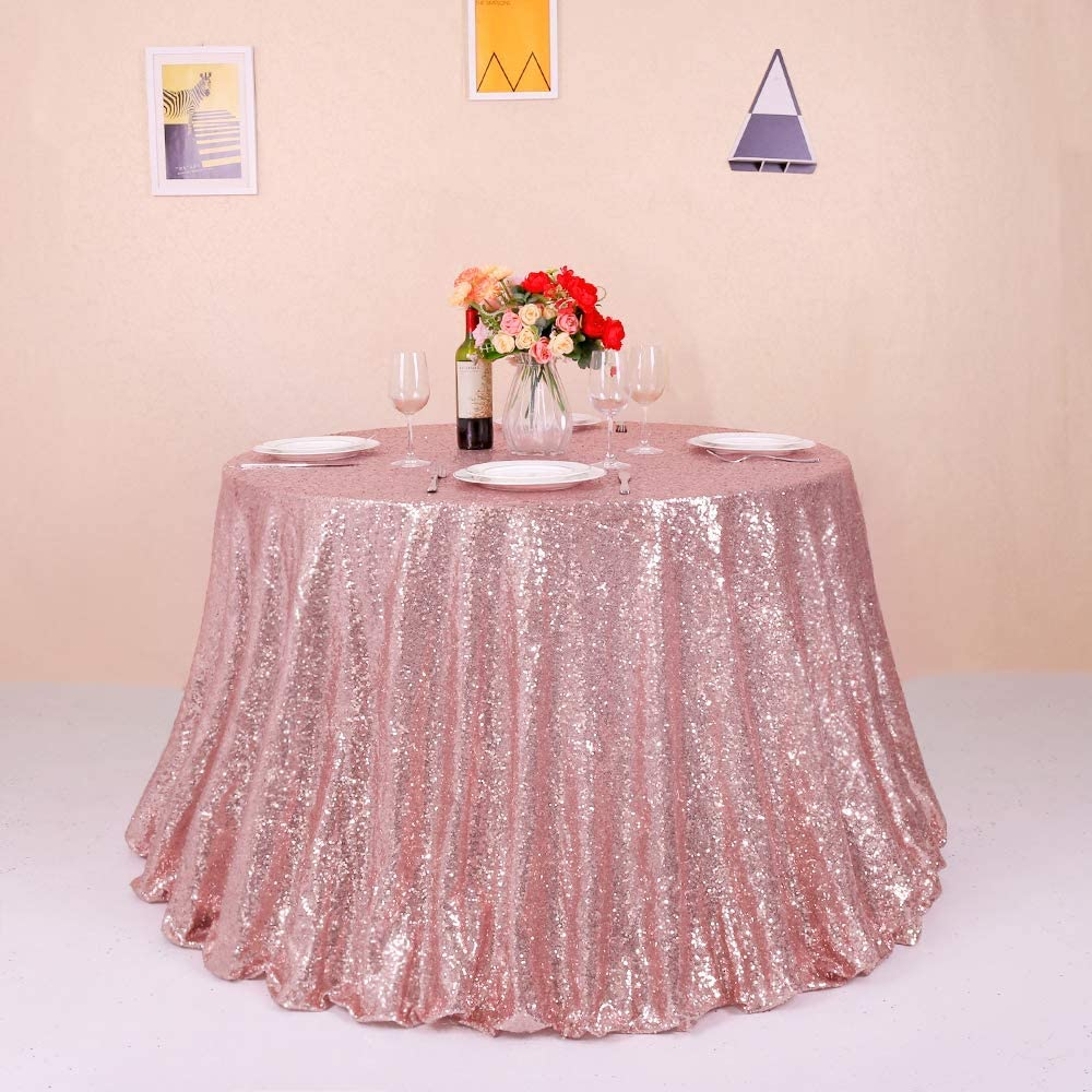 GFCC Black 96inch Round Sequin Tablecloth Sparkly Table Cover for Birthday Party