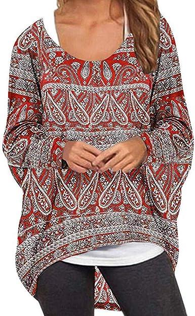 Blusa Suelta Boho Mujer Vintage Camiseta Holgada de Manga Larga de Oversize Informal Bohemio Jersey Rojo XL: Amazon.es: Ropa y accesorios
