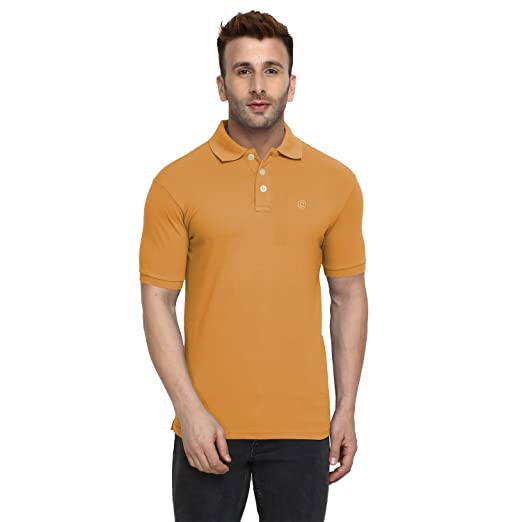 5bd7f62b0 CHKOKKO Cotton Classic Solid Color Short Sleeve Golf Polo T Shirts for Men  3XL Size Mustard