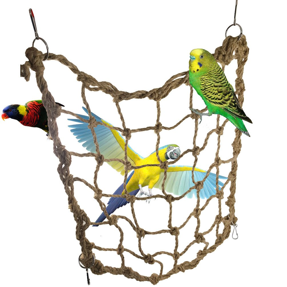 Parrot Bird Swing Thick Chew Rope Hammock Hanging Cage Toys Small Animal Activity Toy Rat and Ferret Hemp Rope Nets Climbing Ladder for Macaw African Greys Cockatoo Budgies Parakeet
