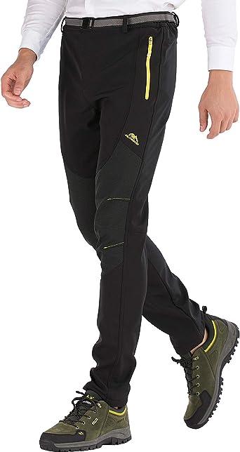 DAFENP Pantalones Trekking Hombre Impermeable Pantalones de Escalada Senderismo Alpinismo Invierno Polar Forrado Aire Libre (L, B Negro)