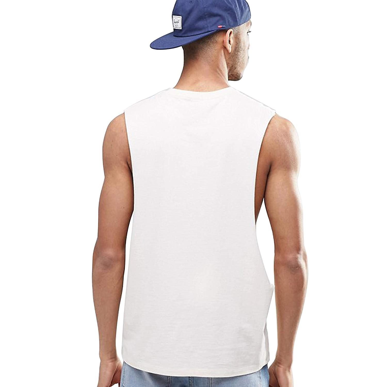 Mens Dropped Armhole Tank Tops Sleeveless Soft Touch Vest