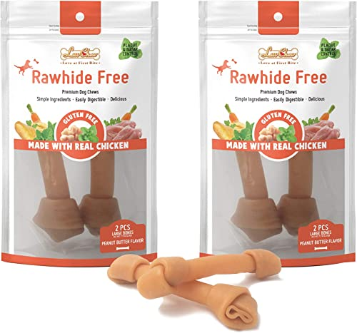 LuvChew Premium Peanut Butter Dog Bones, Rawhide Alternative, Made with Limited Ingredients, Highly Digestible