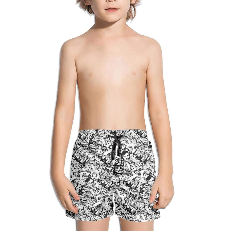 kattyy1 Kids Waterproof Sporty Solid Board Swim Shorts