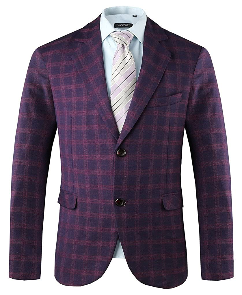 Hanayome Mens Exclusive Pueple Plaid Casual Two Button Sport Coat Blazer SI13 SI13-S-A1