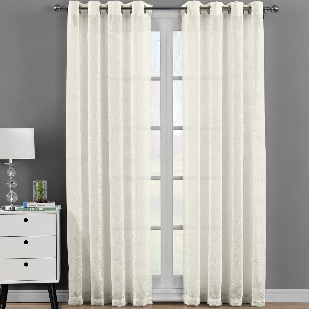 Royal Bedding Melanie Beige Sheer Panels, Top Grommet Embroidered Sheer Curtain Panels, Set of 2, 54Wx108L inches Each