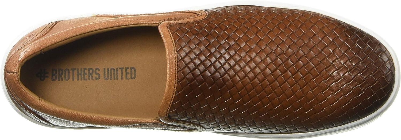 Brothers United Herren Leather Luxury Weave Slip On Sneaker Turnschuh Cognac Nappa