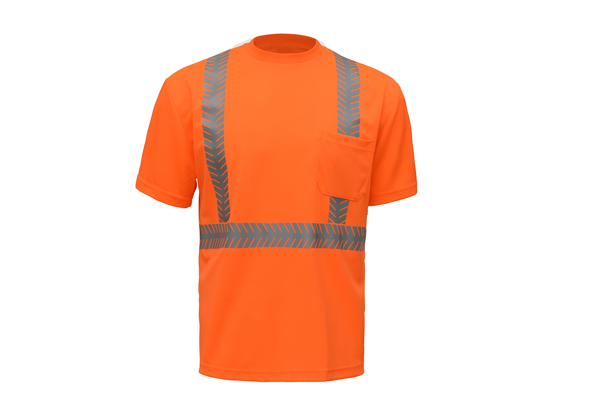 CJ Safety CJHVTS2002 ANSI Class 2 High Vis Short Sleeve Safety Shirt | Moisture Wicking Mesh, Segmented Reflective Tapes (Large, Orange)