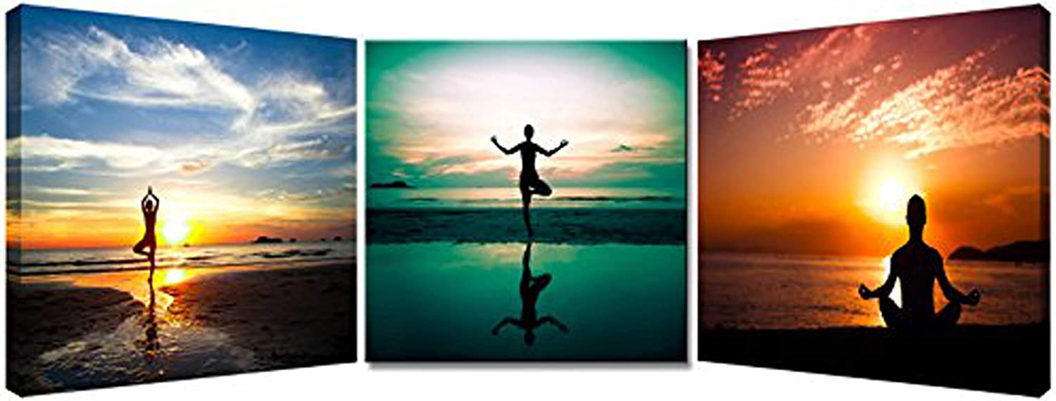 3P Seaside Painting Do Excerise Yoga On The Beach Picture Printed on Canvas Wall Art For Home Decoration With Stretched and Framed