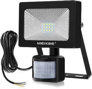 10W Foco LED Exterior, MEIKEE Foco LED con Sensor Movimiento 1000LM, MejoradoLuz Impermeable IP66, Luces de Seguridad Led con Detector Iluminación para Jardín, Garaje - Blanco Frío(6000K): Amazon.es: Bricolaje y herramientas