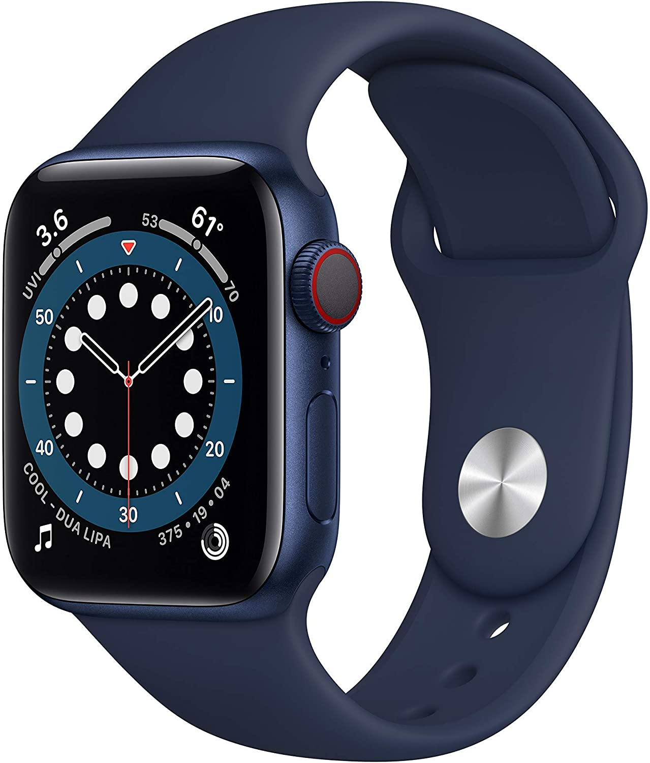 New AppleWatch Series 6 (GPS + Cellular, 40mm) - Blue Aluminum Case with Deep Navy Sport Band (Renewed)