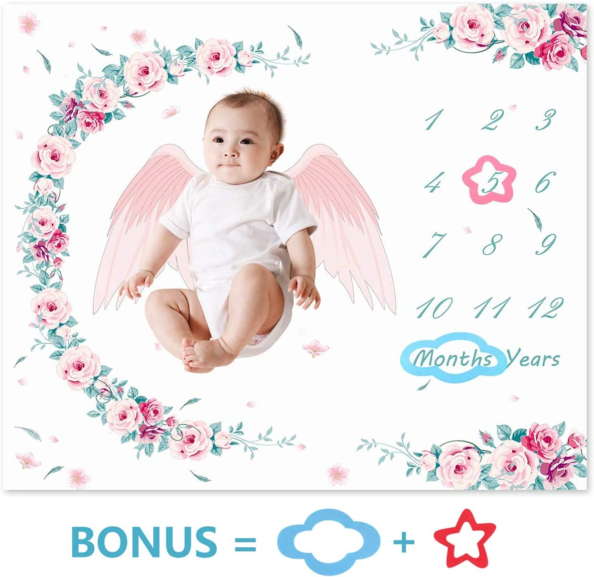 Newborn Infant Photo Prop Photography Backdrop with Frames 39in x 47in Yudanny Flannel Fleece Soft Baby Monthly Milestone Blanket