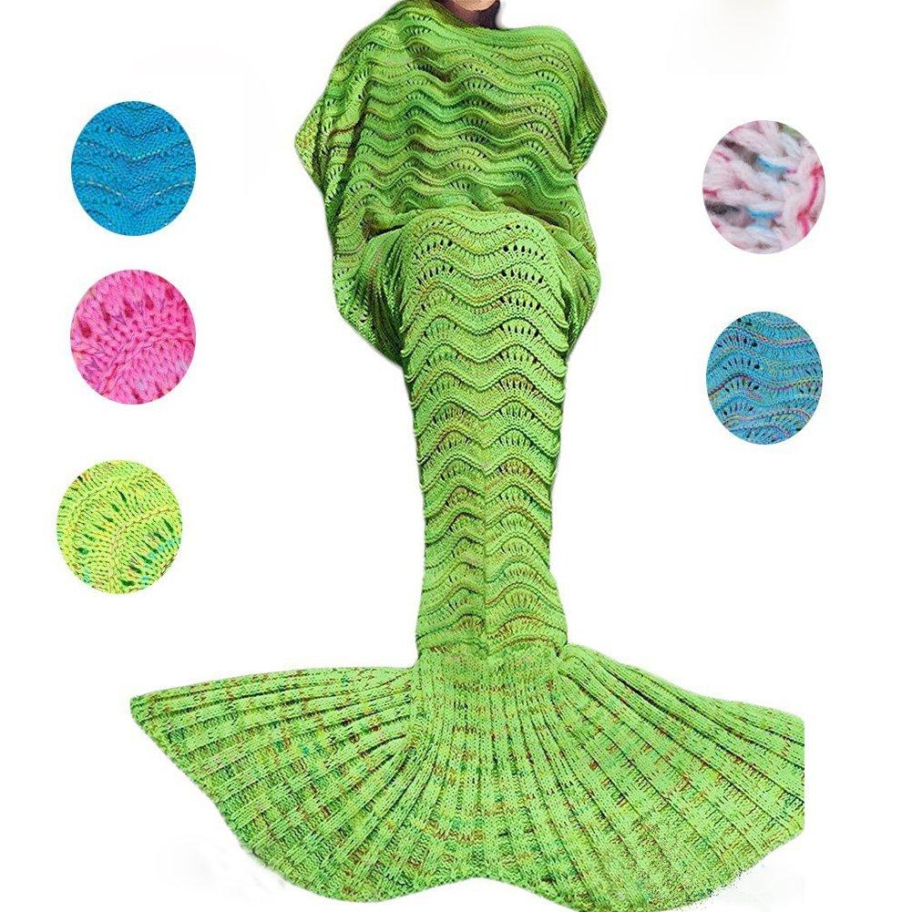 bluexury WonderfulマーメイドテールBlanket withソフト素材Cozyコットン鮮やかな色Perfect Gift for All Ages暖かいクリスマス誕生日の感謝祭 70.8