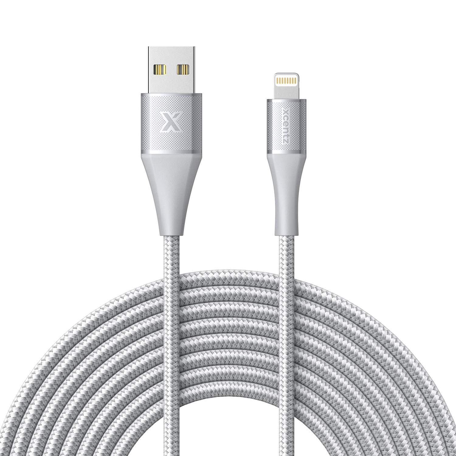 Xcentz iPhone Charger 10ft, Apple MFi Certified Lightning Cable, Braided Nylon High-Speed iPhone Cable with Premium Metal Connector for iPhone X/XS/XR/XS Max/8/7/6/5S/SE, iPad Mini/Air, Silver by XCENTZ