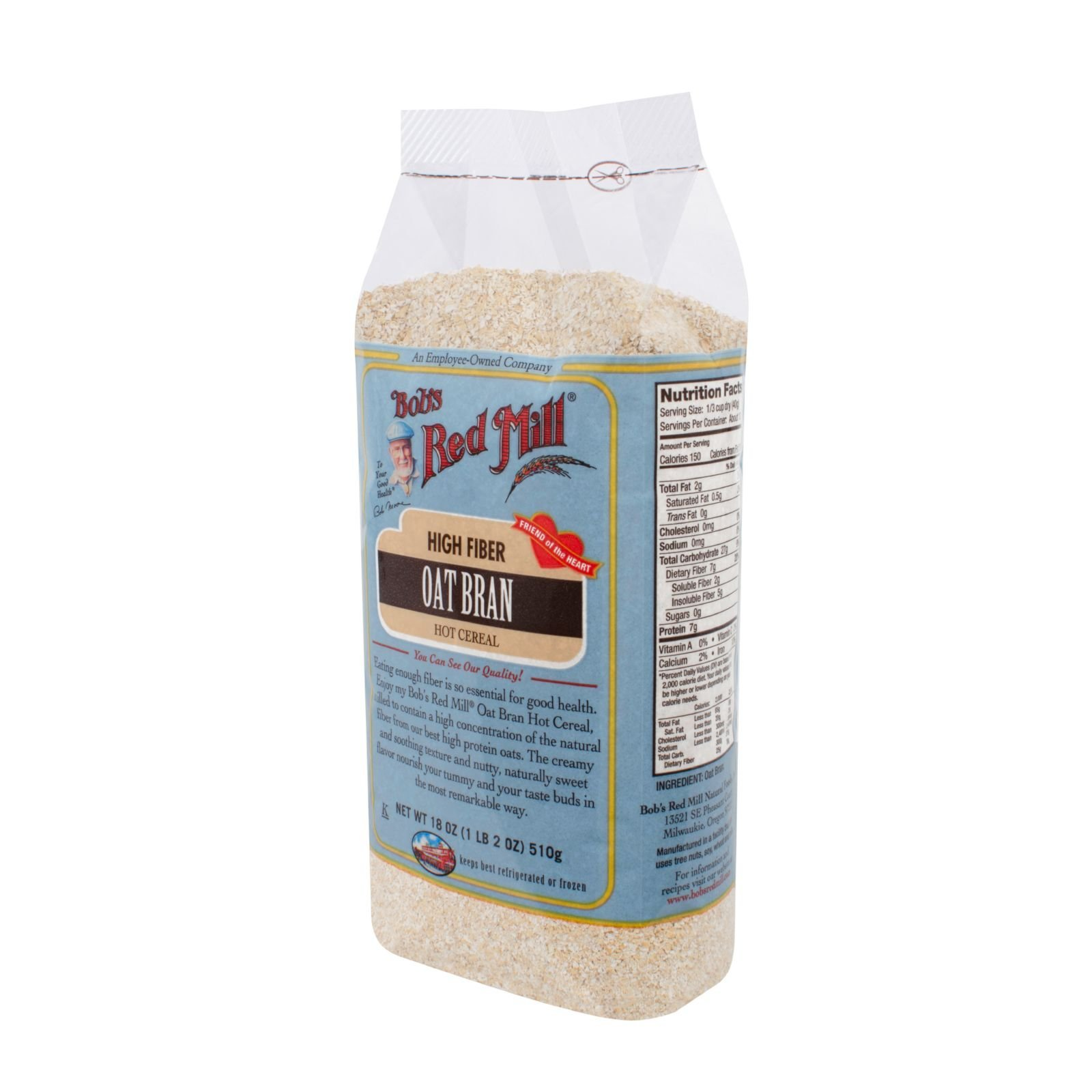 Bobs Red Mill Oat Bran Hot Cereal - 18 oz - Case of 4 - High Fiber - Friend of the Heart
