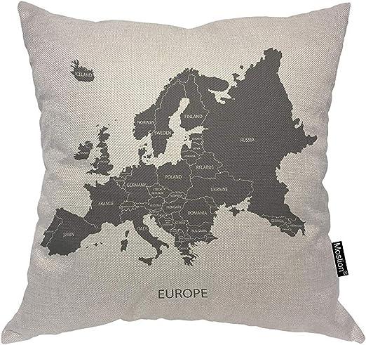 QDAS Mapa Almohadas Mapa de Europa Países Bajos Portugal Italia España Reino Unido Francia Funda de Almohada Funda de Almohada Cojín Cuadrado Acento Algodón Lino Inicio: Amazon.es: Hogar