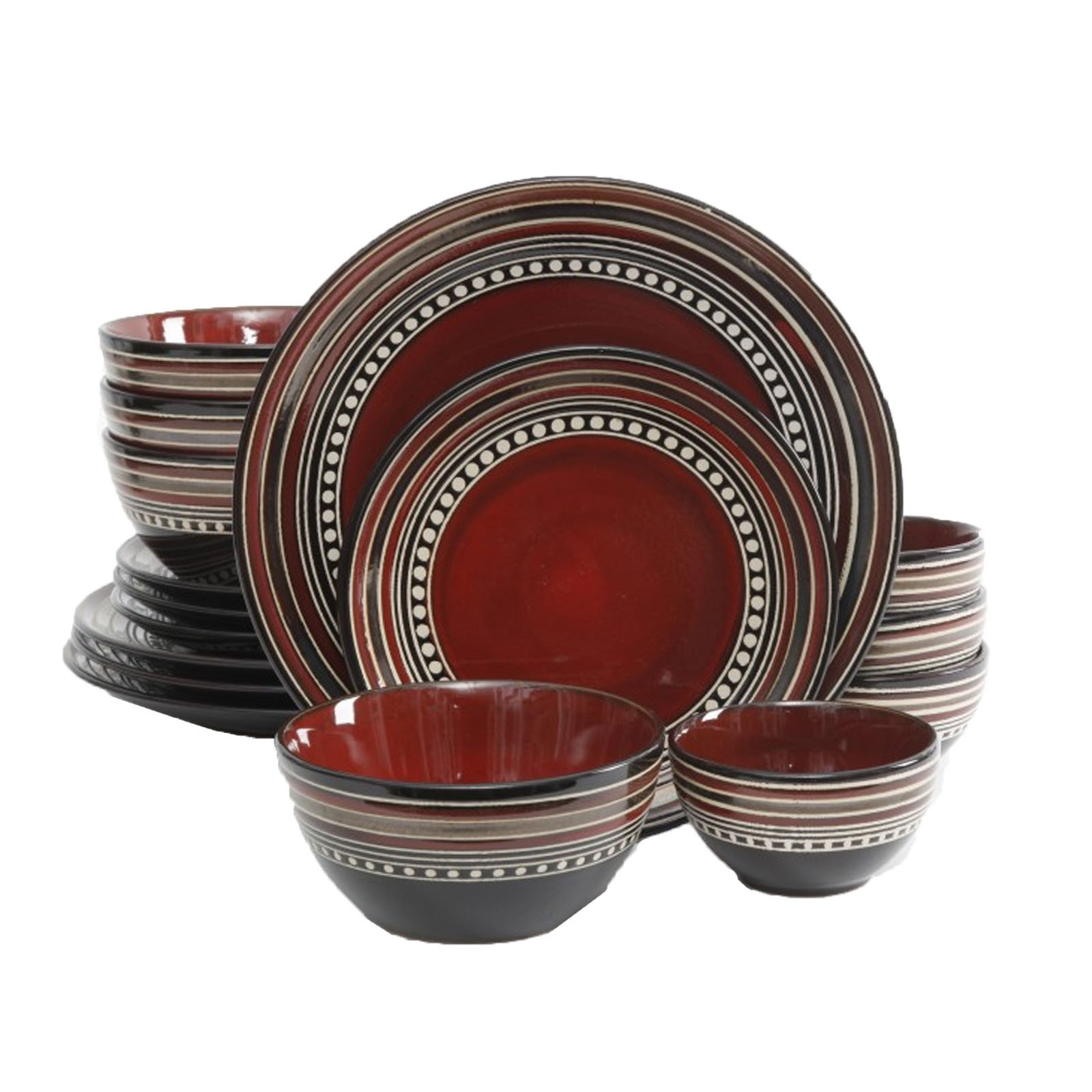 Gibson Elite Café Versailles 16 Piece Double Bowl Dinnerware Set - Red