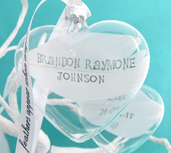 Personalised Name Or Date White Feather Heart Xmas Bauble Glass