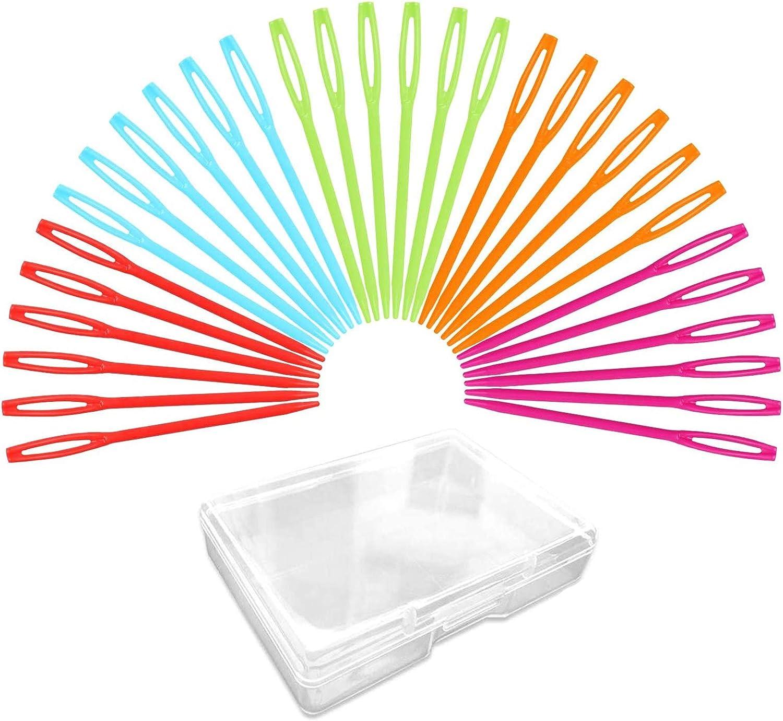 Mix Color 2.75 30 Pcs Plastic Large-Eye Needles Sewing Needles Safety Learning Needles for DIY Sewing Handmade Crafts