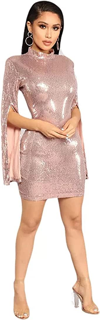 WEMSGY Women Dress Pink Sequin Long Sleeve Fashion Woman