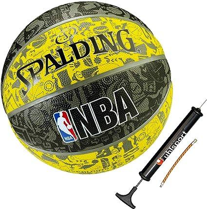 Spalding baloncesto Graffiti Amarillo Tamaño 7 + Balón Bomba ...