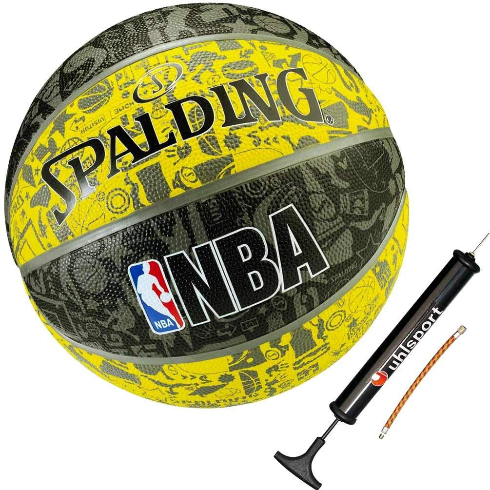 Spalding Basketball Graffiti gelb Größe 7 + Ballpumpe