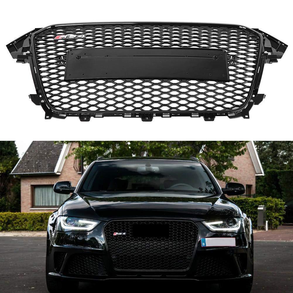 FidgetGear K/ühlergrill f/ür Audi A4 S4 B8.5 RS4 Style Wabengewebe Hex Gitter gl/änzend schwarz ST
