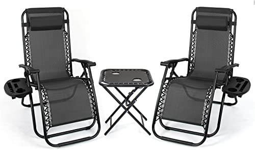 Flamaker Zero Gravity Chairs Outdoor Folding Recliners Adjustable Lawn Patio Lounge Chair with Side Table and Cup Holders for Poolside, Yard and Camping Black