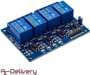 Azdelivery Rele Modulo De 4 Canales 5v Con Optoacoplador Low Level Trigger Para Arduino Con Ebook Incluido