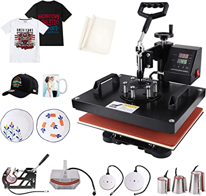 Seeutek Heat Press 15x15 inch Heat Press 5 in 1 Machine 360-Degree Swing Away Digital Multifunction Sublimation Combo for T Shirts Mugs Hat Plate Cap