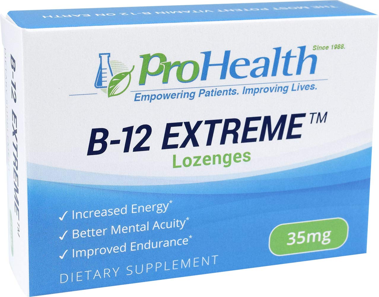 ProHealth B-12 Extreme 35 mg, 30 lozenges – High Potency Vitamin B12 Supplement Methylcobalamin, Dibencozide, Cyanocobalamin, Hydroxocobalamin Caffeine Free Gluten Free Vegan