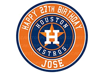 EdibleInkArt Houston Astros Baseball Edible Cake Topper Personalized Birthday 6quot Round Circle Decoration Party