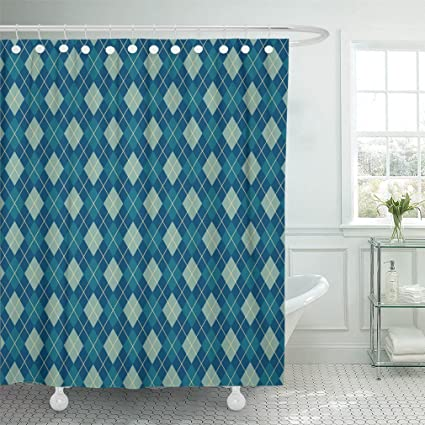 Emvency 72quotx72quot Shower Curtain Waterproof Home Decor Colorful Argyle Bright Blue Pattern Of