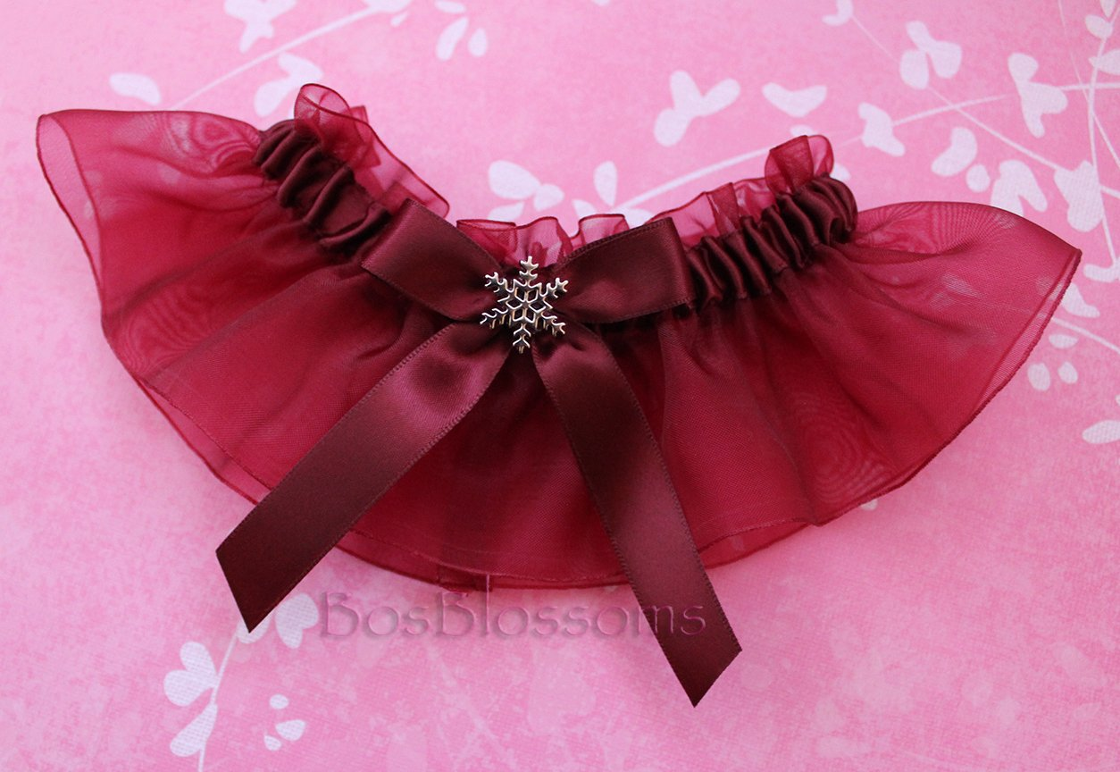 Customizable handmade - Silver snowflake charms - Burgundy Wine satin & organza garter set
