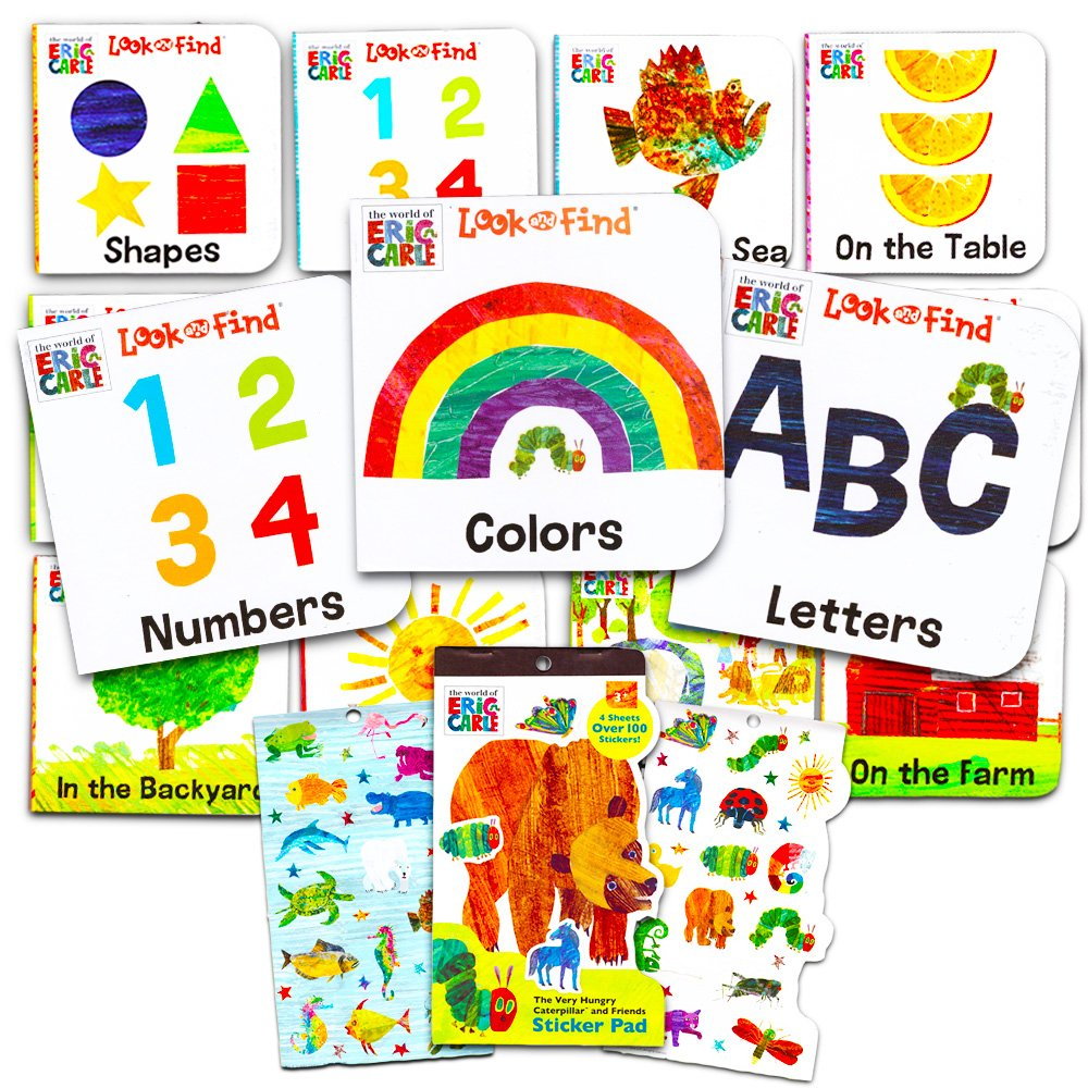Eric Carle Board Books Set For Toddlers Babies Kids -- Pack of 12 ''My First'' Books with Stickers (ABC, Numbers, Colors, Shapes and More!)