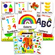 Eric Carle Board Books Set For Toddlers Babies Kids -- Pack of 12  My First  Books with Stickers (ABC, Numbers, Colors, Shapes and More!)