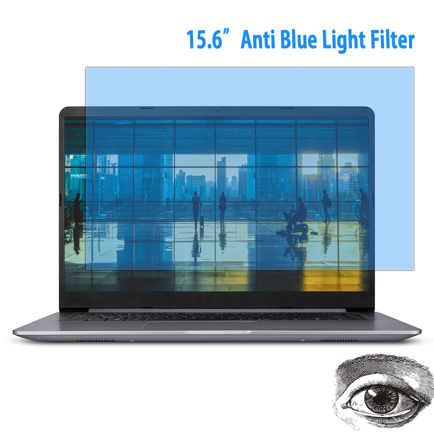 (2 Pack) 15.6 Inch Laptop Anti Blue Light Screen Protector, Eye Protection Blue Light Filter Blocks Reduce Eye Fatigue and Eye Strain for 15.6 incheswith 16:9 Aspect Ratio Laptop