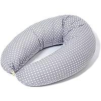 Stillkissen Seitenschläferkissen Schwangerschaftskissen zum Schlafen mit Bezug 100% Baumwolle in verschiedenen Design Grau mit Sterne oder Punkte