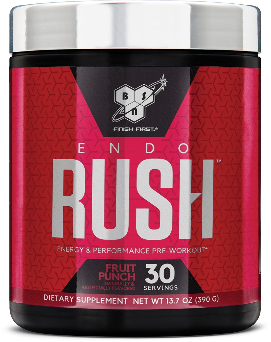 BSN Endorush Pre-Workout Powder, Energy Supplement for Men and Women, 300mg of Caffeine, with Beta-Alanine and Creatine, Fruit Punch, 30 Servings by BSN