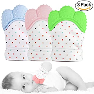 GreaSmart 3 Pack Baby Teether Mitten Teething Toy Prevent Scratches Glove Self Shooting Stay on Baby's Hand Pain Relief for Teeth Toys Unisex Newborn Toddles Infants 3-12M