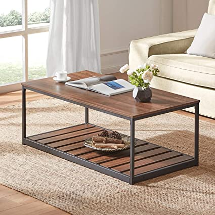 Dyh Rustic Coffee Table For Living Room Industrial Wood And Metal Cocktail Table With Slatted Bottom Shelf Brown