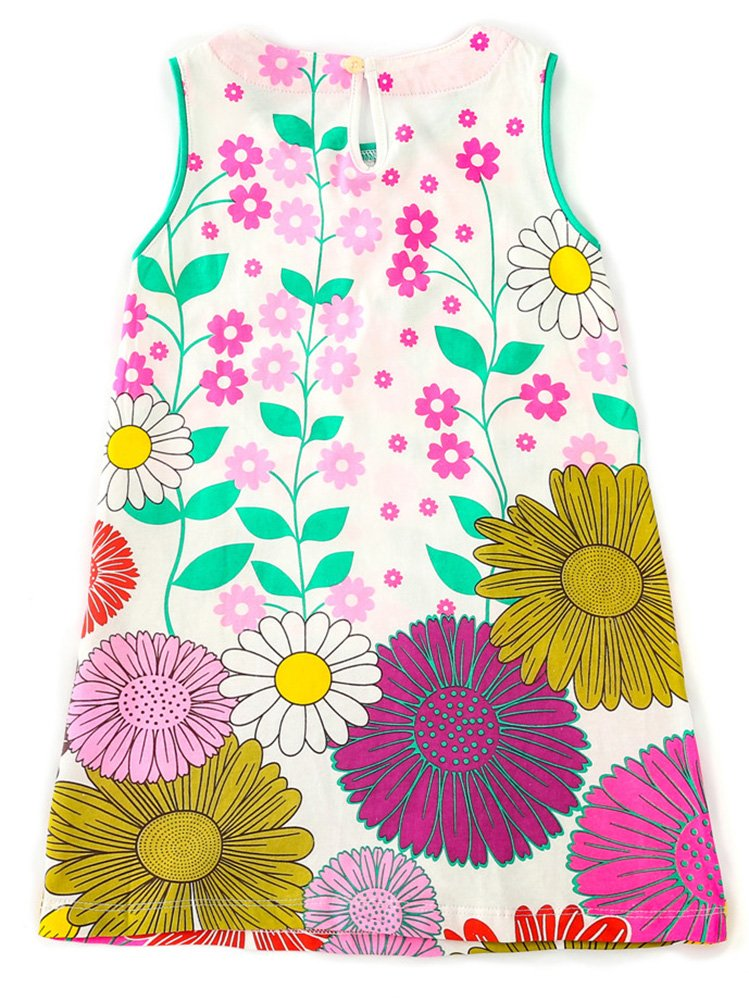 Jobakids Girls Summer Cotton Sleeveless Cute Prints with Pockets Dress for Toddler(Blue/3T/3-4YRS) by Jobakids (Image #2)