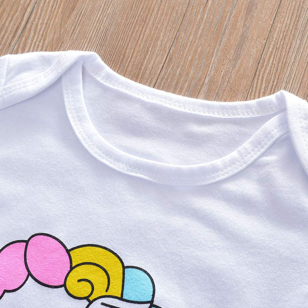 Pantaloni Neonata Manica Corta Pagliaccetto Arcobaleno Stampa Body Tutine Fascia Jimmackey 3pcs Completo
