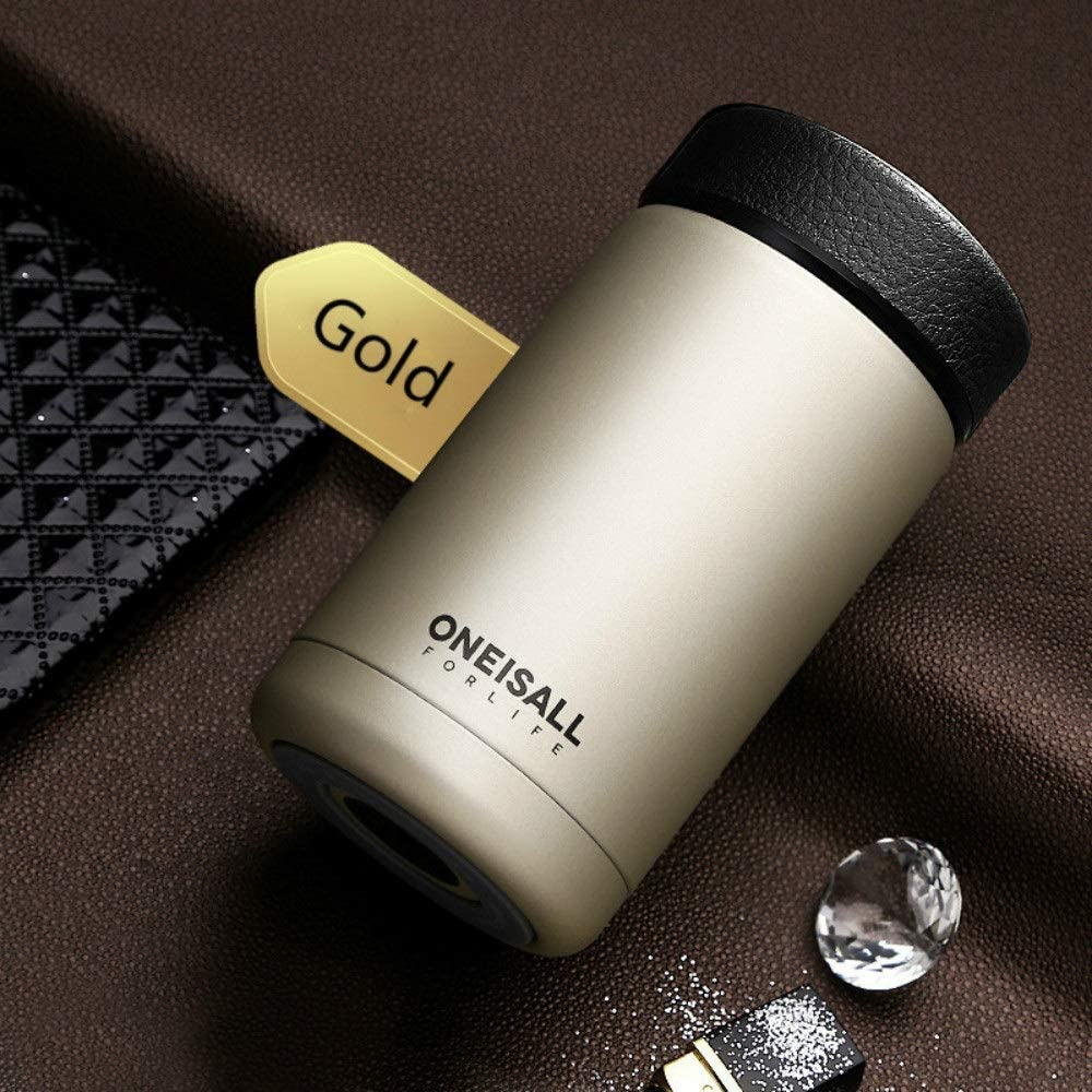 400ml 304 stainless steel vacuum flask kettle thermos coffee glass men's gift thermos bottle protection LU11131734 XI (Color : Champagne gold)