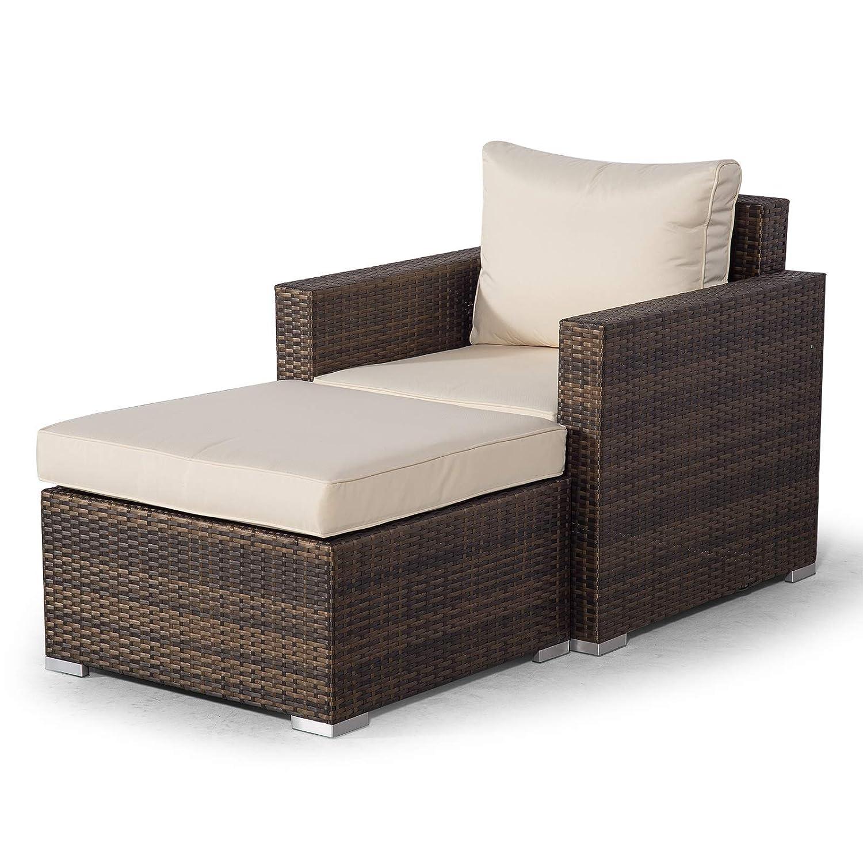 Set Giardino In Rattan.Giardino Sydney Brown Rattan Armchair Ottoman Lounge Chair