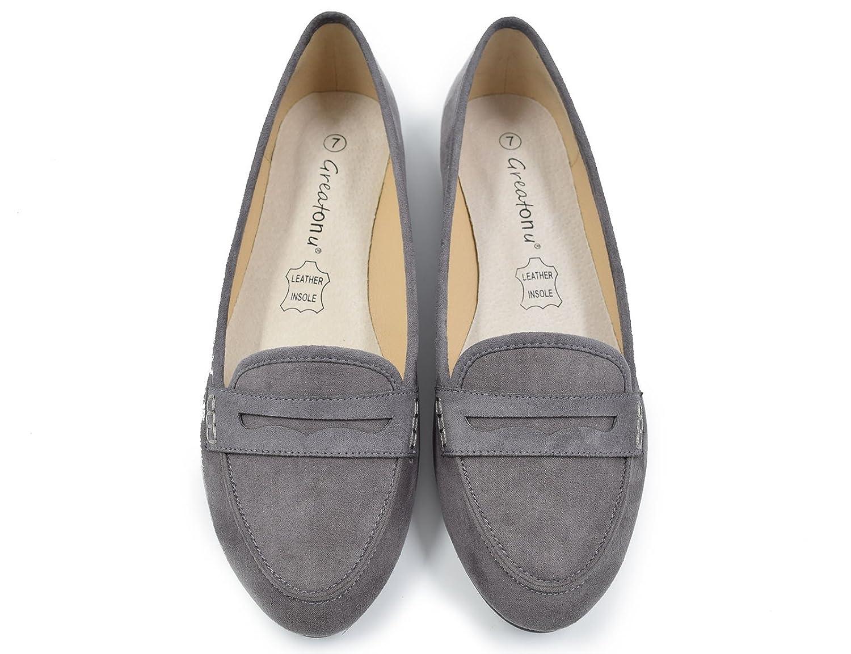 Greatonu Women's Faux Suede Comfort Slip-on Penny Loafer Flat Shoes ZHFL1231-1
