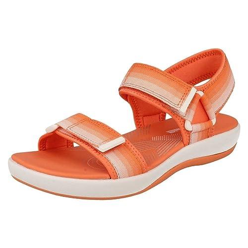 f4295ea7944a Clarks Ladies CloudSteppers Summer Sandals Brizo Ravena - Coral Textile -  UK Size 3D - EU