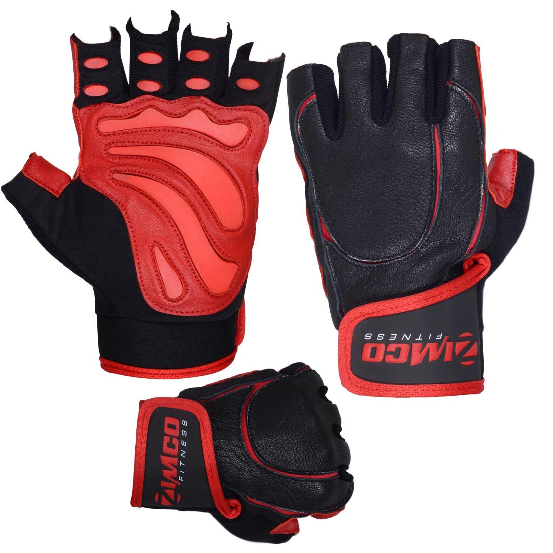Zimco Pro Weight Liftingフィットネス耐熱手袋本革手袋レッドグローブ X-Large ブラック/レッド B0798RNL48