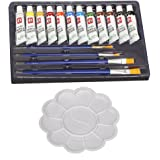 Kurtzy 12 Color Acrylic Paint Studio Set (12ml Professional Grade Painting Kit With Painting Palette