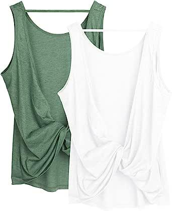 icyzone Chaleco Deportivo y Ocio de Espalda Abierta para Mujer, Pack de 2
